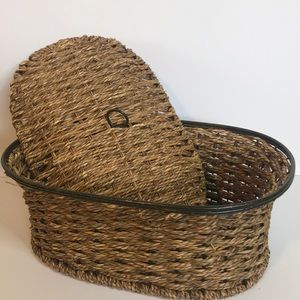 Vintage wicker and wire basket